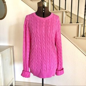 Lilly Pulitzer Pink Cable Knit Sweater Cotton